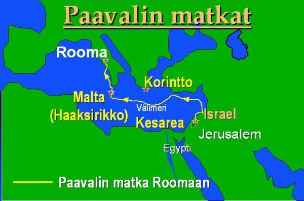 Paavalin Matka Roomaan Lahetysmatka Kartta Kuvia